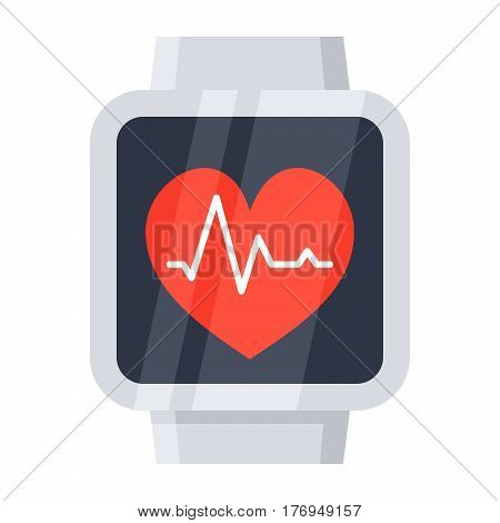 Checking pulse by smartwatch, vector illustration in flat style