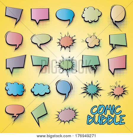 Gradient comic funny collection empty colored cloud pop art vector style. Big set colorful message bubble speech for comic cartoon expression illustration. Comics book background template.
