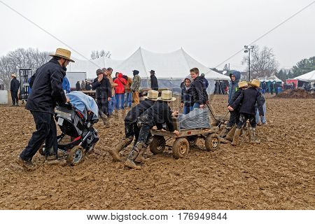 PENRYN PENNSYLVANIA - MARCH 18, 2017: A rainy muddy day at the annual