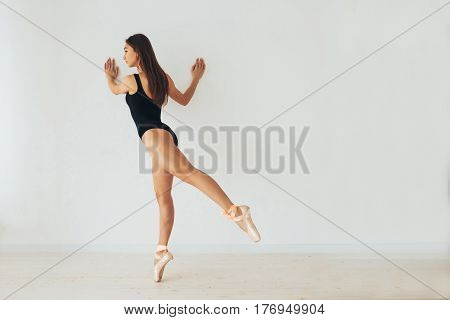 Beautiful young athletic woman dancer at a training session. Ballerina. Preparing for the competition. Classes in single sports.