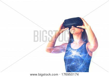 The woman with glasses of virtual reality. Future technology concept. Conceptual image of a woman caught in Internet Addiction Disorder.
