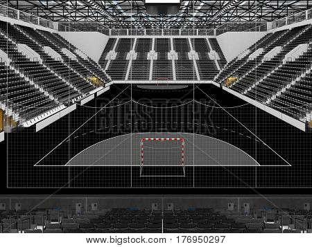Beautiful Sports Arena For Handball With Black Seats And Vip Boxes