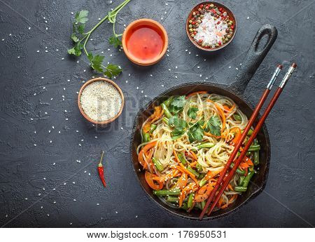 Starch (rice, Potato) Noodles With Vegetables - Bell Peppers, Carrots, Green Beans, Onions, Sesame S