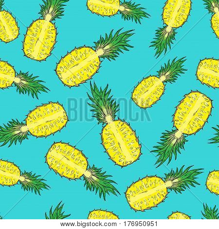 Pattern of cut pineapple. On a blue background. Seamless.