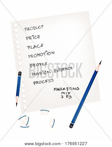 Business Concepts 7Ps Model or Marketing Mix Process for Management Strategy with Product Promotion Place Price Physical Evidence People and Process . A Foundation Concept in Marketing. .