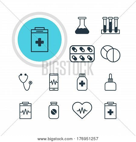 Vector Illustration Of 12 Health Icons. Editable Pack Of Medicine Jar, Exigency, Experiment Flask And Other Elements.
