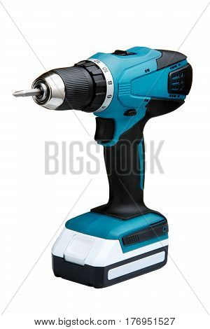 Blue cordless screwdriver with a drill isolated on white background. Tools. Home. Interior. Repair and repairs. Building. Instruments.