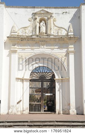 Antigua, Guatemala - 2 February 2014: Entrance to the ruins of the cathedral of Antigua on Guatemala