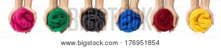 Set of colorful merino wool balls in hands collage.