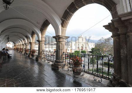 Antigua, Guatemala - 2 February 2014: The cathedral of Antigua on Guatemala