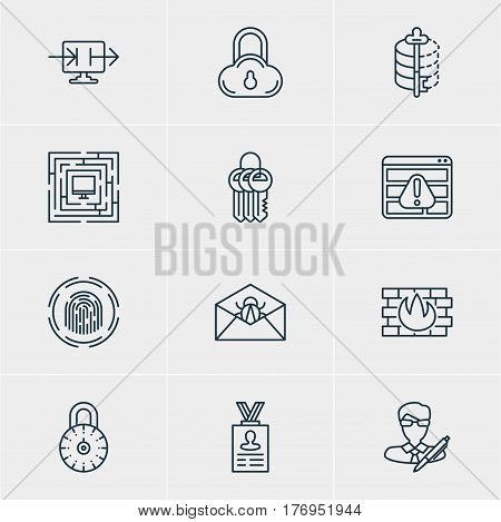 Vector Illustration Of 12 Web Safety Icons. Editable Pack Of System Security, Safe Lock, Encoder And Other Elements.
