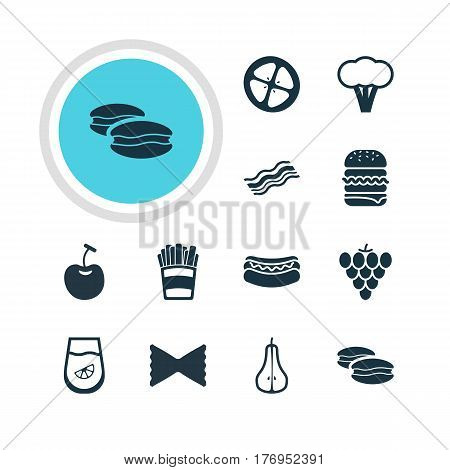 Vector Illustration Of 12 Food Icons. Editable Pack Of Berry Type, Juice, Biscuit And Other Elements.