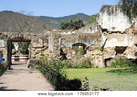 Antigua, Guatemala - 3 February 2014: Ruins of the San Jeronimo church at Antigua