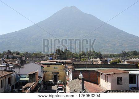 Antigua, Guatemala - 3 February 2014: Vulcano Agua near Antigua on Guatemala