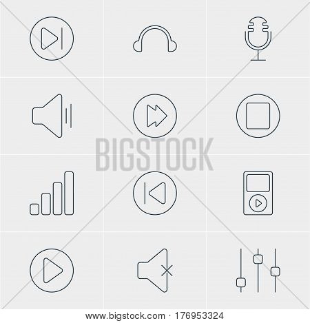 Vector Illustration Of 12 Melody Icons. Editable Pack Of Subsequent, Advanced, Soundless And Other Elements.