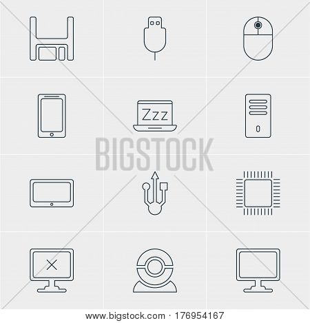 Vector Illustration Of 12 Computer Icons. Editable Pack Of Cursor Manipulator, Usb Icon, Laptop And Other Elements.