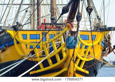 SAINT-MALO FRANCE - NOVEMBER 27 2016: Port in Saint Malo France.Side view of a sail ship