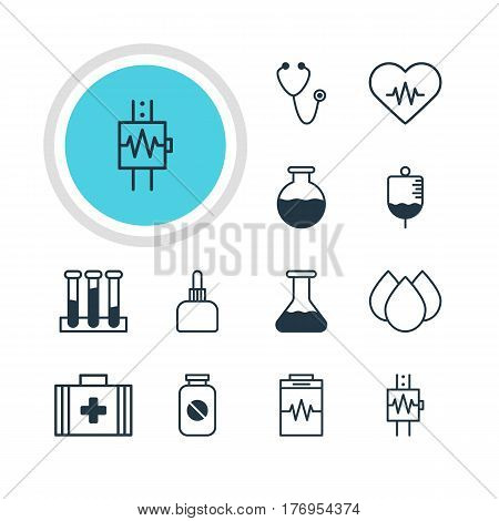 Vector Illustration Of 12 Health Icons. Editable Pack Of Pulse, Aspirin, Flask And Other Elements.