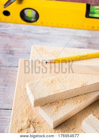 Wood And Tools For Measuring Cutting Level Diy Craft