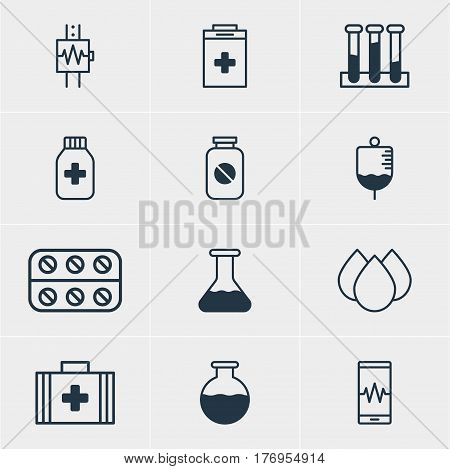 Vector Illustration Of 12 Health Icons. Editable Pack Of Aspirin, Heartbeat, Medical Bag And Other Elements.