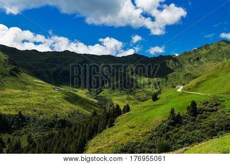 Mountain landscape along Zillertal high road in austrian Alps. Zillertaler Hoehenstrasse Austria Tyrol Tirol