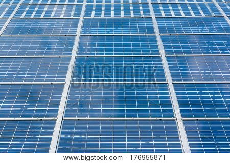 Solar Panels Closeup Blue Technology Clear Sunny Day Clouds Reflection Green Energy Real