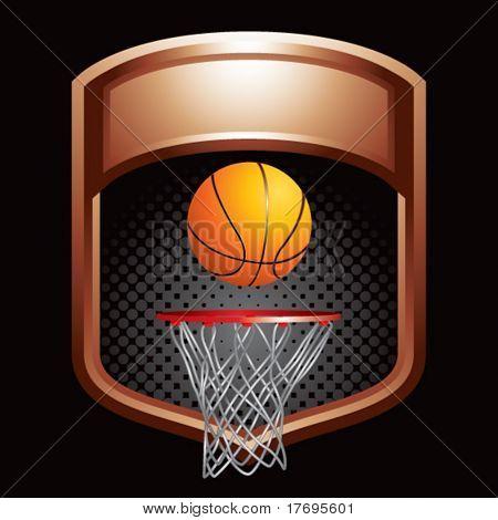 basketball hoop on bronze display