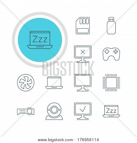 Vector Illustration Of 12 Computer Icons. Editable Pack Of Access Denied, Laptop, Cooler And Other Elements.