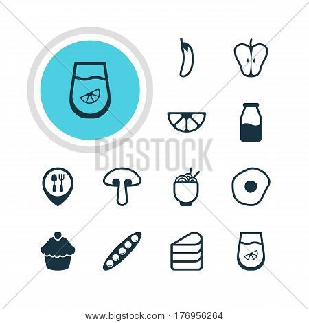 Vector Illustration Of 12 Cooking Icons. Editable Pack Of Bean, Muffin, Juice And Other Elements.