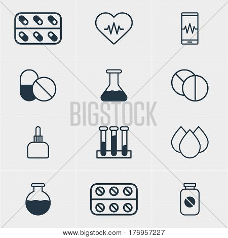 Vector Illustration Of 12 Medicine Icons. Editable Pack Of Medicament Pitcher, Medicine, Flask And Other Elements.