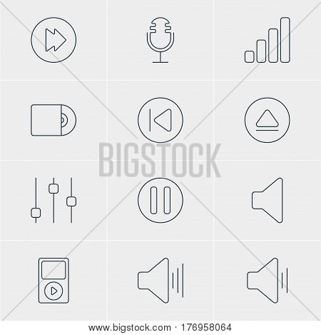 Vector Illustration Of 12 Melody Icons. Editable Pack Of Rewind, Audio, Volume Up And Other Elements.