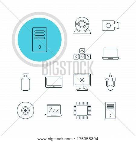 Vector Illustration Of 12 Computer Icons. Editable Pack Of Mainframe, Keypad, Objective And Other Elements.