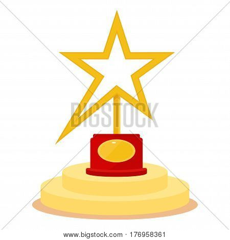 Golden Award in the form of star. Movie Theater Cinematic Award Movie Premiere and sport competitions. Flat vector cartoon illustration. Objects isolated on a white background.