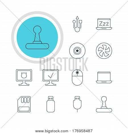 Vector Illustration Of 12 Notebook Icons. Editable Pack Of Usb Icon, Antivirus, Flash Drive And Other Elements.