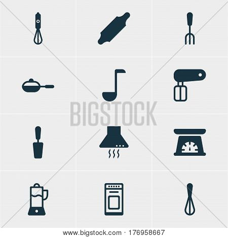 Vector Illustration Of 12 Kitchenware Icons. Editable Pack Of Corolla, Measuring Tool, Bakery Roller And Other Elements.