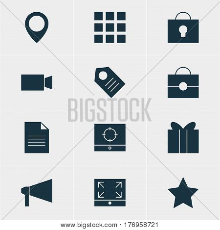 Vector Illustration Of 12 Internet Icons. Editable Pack Of Portfolio, Target Scope, Grid And Other Elements.