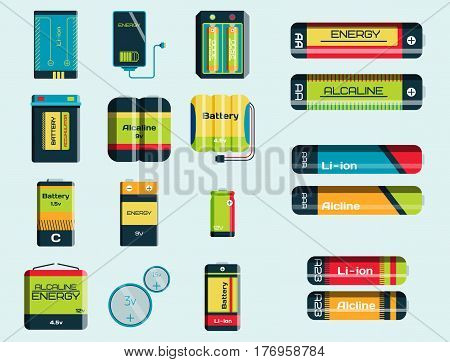 Battery energy tool electricity charge fuel positive supply and isposable generation component alkaline industry technology vector illustration. Double rendering alkaline objects.