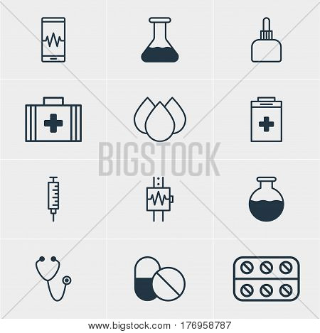 Vector Illustration Of 12 Health Icons. Editable Pack Of Medical Bag, Medicament Pitcher, Antibiotic And Other Elements.