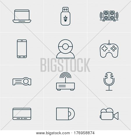 Vector Illustration Of 12 Hardware Icons. Editable Pack Of Video Chat, Joypad, Usb Card And Other Elements.