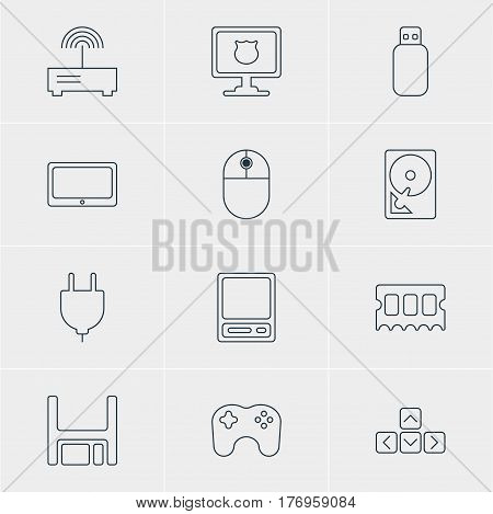 Vector Illustration Of 12 Notebook Icons. Editable Pack Of Tablet, Router, Diskette And Other Elements.