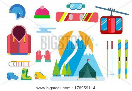 Winter sport vector icons set. Winter sport games flat design isolated. Ski, sport, active extrimal sports, winter games, sport icons, snowboarding, winter clothes