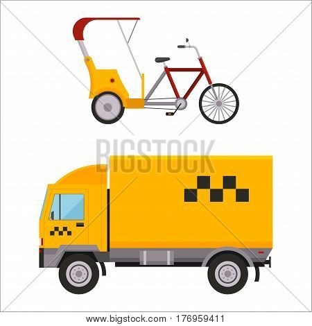 Taxi yellow van car rickshaw isolated on white background. Vector yellow taxi truck van and rickshaw. Road street service taxi van truck. Traditional india rickshaw silhouette cycle cab.