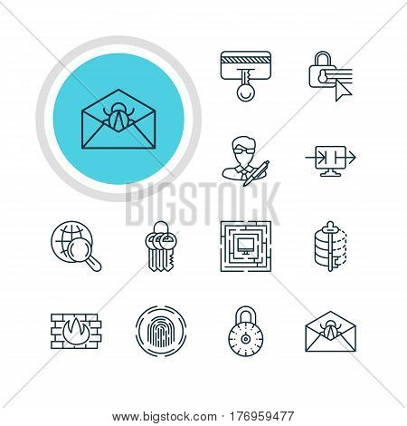 Vector Illustration Of 12 Internet Security Icons. Editable Pack Of Copyright, System Security, Encoder And Other Elements.