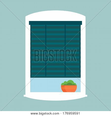 Type of house windows jalousie element isolated flat style frame domestic door double construction and contemporary decoration apartment vector illustration. Architectural design.