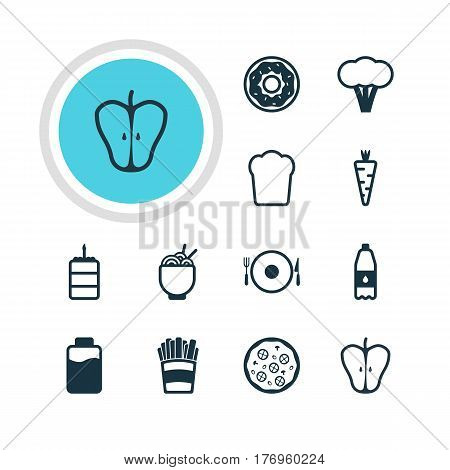 Vector Illustration Of 12 Eating Icons. Editable Pack Of Cotton, Loaf, Pastry And Other Elements.