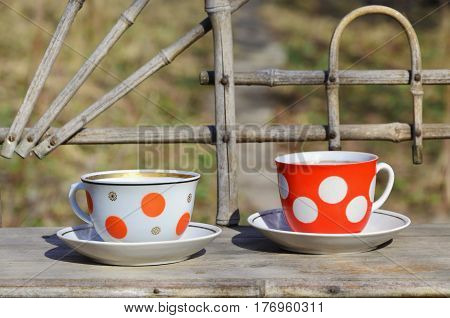 Rustic Still Life With A Cups Of Tea