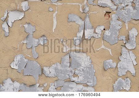 Close-up Weathered And Stained Obsolete Beige Concrete Wall Texture