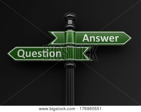 3D Illustration. Question and answer pointers on signpost. Image with clipping path