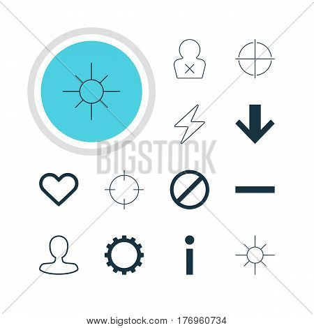 Vector Illustration Of 12 Interface Icons. Editable Pack Of Sunshine, Bolt, Access Denied And Other Elements.