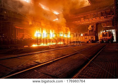 Accident at a steel mill. Production process in the steel mill